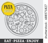 pizza vector illustration  hand ... | Shutterstock .eps vector #688571827