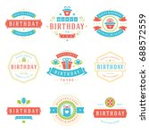 happy birthday badges and... | Shutterstock .eps vector #688572559