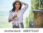 attractive woman tourist with... | Shutterstock . vector #688573165
