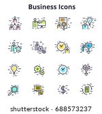 set of business icons in line... | Shutterstock .eps vector #688573237