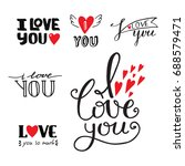 vector i love you text overlays ... | Shutterstock .eps vector #688579471