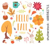hello fall cute cartoon autumn... | Shutterstock .eps vector #688582711