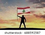 male silhouette figure waving...   Shutterstock . vector #688592587