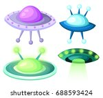 flying saucer  spaceship and... | Shutterstock .eps vector #688593424