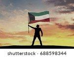 male silhouette figure waving...   Shutterstock . vector #688598344