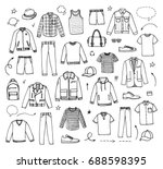 hand drawn men's clothing.... | Shutterstock .eps vector #688598395