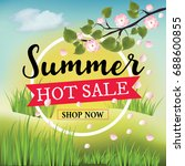 summer hot sale banner with... | Shutterstock .eps vector #688600855