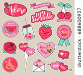 set of girl fashion patches ... | Shutterstock .eps vector #688600957