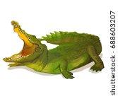 green crocodile  alligator on... | Shutterstock .eps vector #688603207
