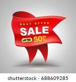 big red ribbon for sale banner. ...   Shutterstock .eps vector #688609285