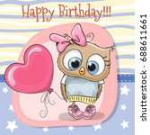 greeting card cute cartoon owl... | Shutterstock .eps vector #688611661
