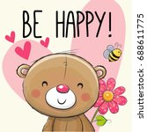 be happy greeting card teddy... | Shutterstock .eps vector #688611775