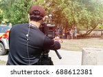 camera working on the street. ... | Shutterstock . vector #688612381