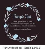 wreath of blue flowers in... | Shutterstock .eps vector #688612411