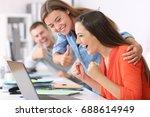 happy employee being... | Shutterstock . vector #688614949