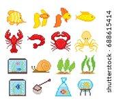 Aquarium Fish Icons Set. Pixel...