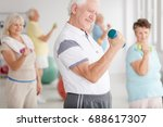 older man in sportswear... | Shutterstock . vector #688617307