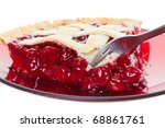 A cherry pie closeup cut into with a fork. Shot on white. - stock photo