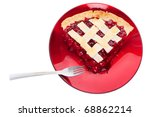 A  serving of cherry pie isolated on white. Over head shot. - stock photo