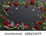 a floral background over a... | Shutterstock . vector #688624699