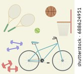 sport flat image  bicycle ... | Shutterstock .eps vector #688624951