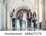 multiracial students are... | Shutterstock . vector #688627174