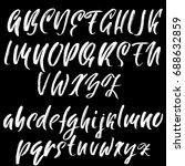 letter m. handwritten by dry... | Shutterstock .eps vector #688632859