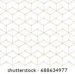 seamless geometric line grid vector hexagon pattern