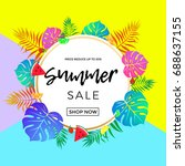summer sale bright poster for... | Shutterstock .eps vector #688637155