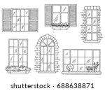 windows set graphic black white ... | Shutterstock .eps vector #688638871