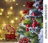rustic holiday background with... | Shutterstock . vector #688643185