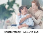 happy patient is holding... | Shutterstock . vector #688645165