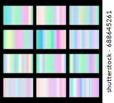 set of vector holographic... | Shutterstock .eps vector #688645261