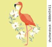 Stock vector flamingo embroidery vector illustration 688645411