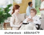 older woman sits on wheelchair...   Shutterstock . vector #688646479