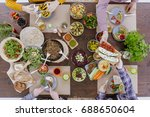 food blogger takes a photo of... | Shutterstock . vector #688650604