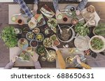 friends meeting while eating... | Shutterstock . vector #688650631