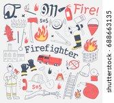 firefighter freehand doodle.... | Shutterstock .eps vector #688663135
