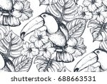 vector seamless pattern with... | Shutterstock .eps vector #688663531