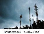 landscape of raining on the... | Shutterstock . vector #688676455