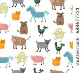 seamless vector pattern with... | Shutterstock .eps vector #688677721