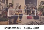 young workers talking and... | Shutterstock . vector #688678885