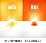 milky splash with vanilla...   Shutterstock .eps vector #688680637