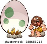 hungry cartoon caveman cooking... | Shutterstock .eps vector #688688215