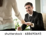 female job applicant arrives at ... | Shutterstock . vector #688690645