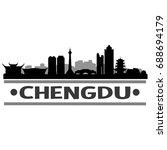 chengdu skyline silhouette city ... | Shutterstock .eps vector #688694179