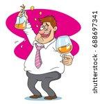 drunk businessman drinking... | Shutterstock .eps vector #688697341