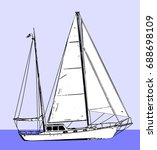 sailboat sketch illustration  ... | Shutterstock .eps vector #688698109