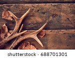 a pair of stag antlers with... | Shutterstock . vector #688701301