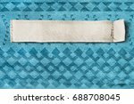 blank clothes label on blue... | Shutterstock . vector #688708045
